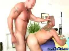 Mature gay masseur assfucks hunky straight dude