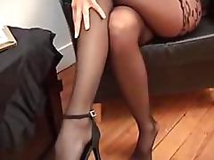 Heart Stopping Blonde Babe With Big Jugs Loves Wearing Her Pantyhose