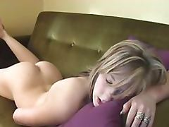 Naturally Busty Blonde Teen Masturbates On Her Couch Until Orgasming