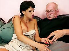 Wrinkled grandpa fucks young slut