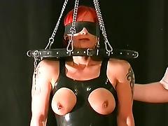 Pierced nipples girl loves BDSM porn