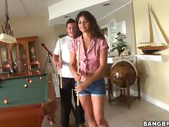 Brown haired Gina Lopez gets fucked on the pool table