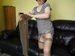 Glossy pantyhose nylons and dildo