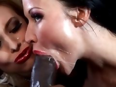 Lolly and Michelle in an interracial threesome