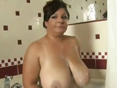Aged, Aged, Amateur, Bathing, Bathroom, Huge