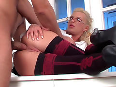 Office, Babe, Blonde, Facial, HD, Lick