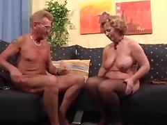 Old woman gives a blowjob to old man and rides his dick