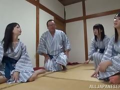 Voyeur Girl Watching a Japanese Couple Having Sex in the Spa