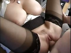 Busty blonde milf sucks a fat cock and gets fucked in an office