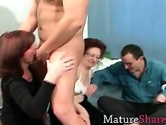 Granny, Blowjob, Granny, Group, Mature, Party