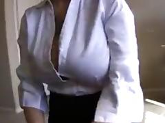 Big tit amateur nerd in office clothes jerk and facial video