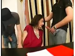 Black haired skinny MILF gets fucked hard in a gangbang