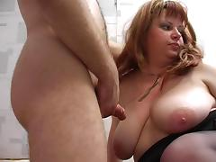 Redhead plump stepmom with hairy pubis and guy