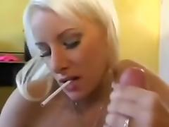 Hot golden-haired enjoys big rod