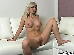 Blonde honey taking it all off for her horny agent