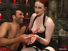 Kinky Claire Adams ties a guy up and humiliates him