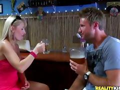 Blonde mom Veronica seduces a barman and fucks him at his working place