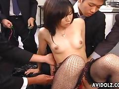 Japanese schoolgirls share a cock with teacher Uncensored