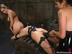 Lesbian BDSM Action with Strapon and Toying Fun in Bondage Session