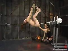 Boob Torture and Rope Bondage Action with Wild Toying in Lesbian BDSM