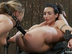 Wenona, Jessie Cox, and Isis Love play BDSm games in a cellar