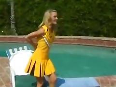 Cheerleader, Blonde, Blowjob, Cheerleader, Couple, Outdoor