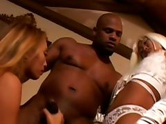 Two blondes from Asian fuck with giant black dick