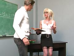 Transsexual teacher and a guy fuck in a classroom