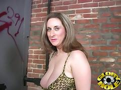 Horny MILF With Big Tits Sucking Black Gloryhole Cock