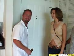 Playful Brianna Beach gets her pussy fucked by two guys
