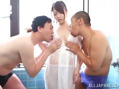 Amazing Asian babe Eri Hosaka has threesome in the shower