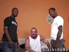 Horny gay daddy gets his butt smashed by two black dudes