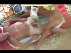 Voyeur on public beach. Cook Jerking and Blow Job with Ejaculation