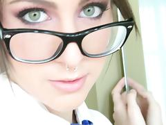 Pierced Babe In Glasses Giving An Arousing Blowjob