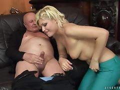 Kitty Rich is fucked by a lucky pussy craving senior