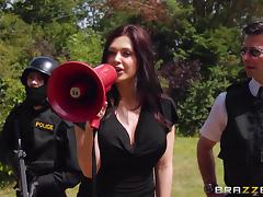 Office, Blowjob, Brunette, Cop, MILF, Office
