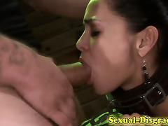 Mouth fucked bound sub gags