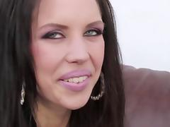 Skinny whore with piercing eyes rides stud's cock