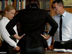 Cowgirl in nylon stocking yelling while her anal is banged hardcore in reality threesome office sex