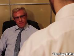 Gay office hunk assfucked for a payrise