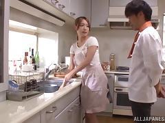 Wife, Asian, Couple, Japanese, Kitchen, Mature