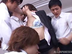 Japanese teacher gets fucked and facialed in a gangbang sex clip