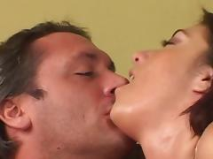 Chick with a pierced pussy gets fucked missionary style and cums