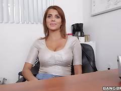 Office, Babe, Big Tits, Blowjob, Boobs, Bra