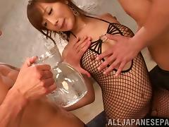 Kokone Mizutan wearing fishnet bodystocking enjoys MMF banging