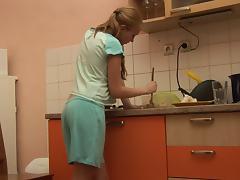 Petite, Amateur, Homemade, Kitchen, Masturbation, Pussy